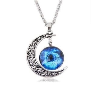 Blue Crescent Moon Cabochon Necklace